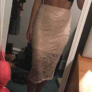 Blush lace overlay midi skirt